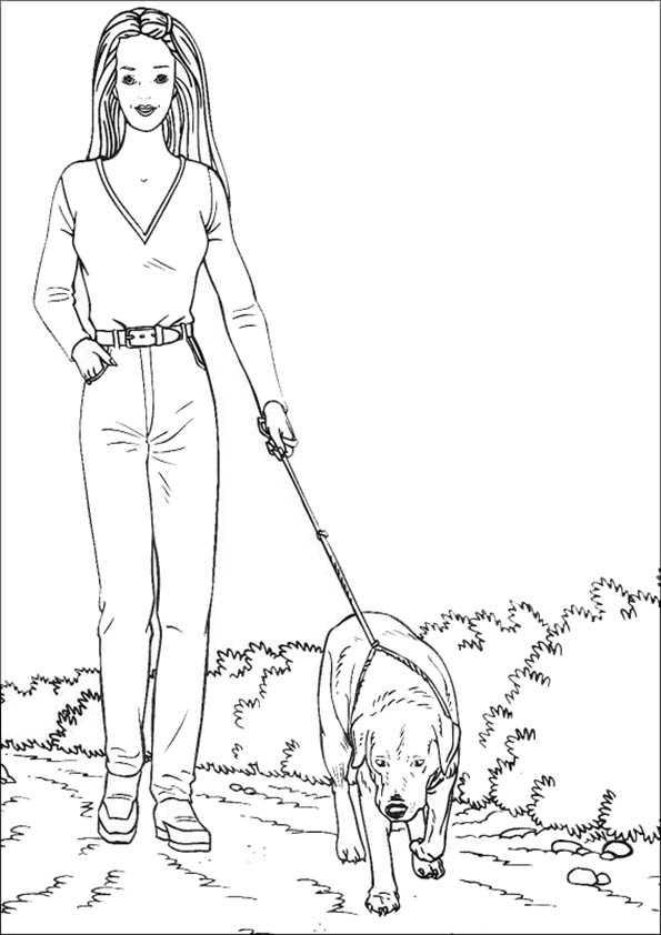 Ausmalbilder Barbie Spaziergang mit dem Hund