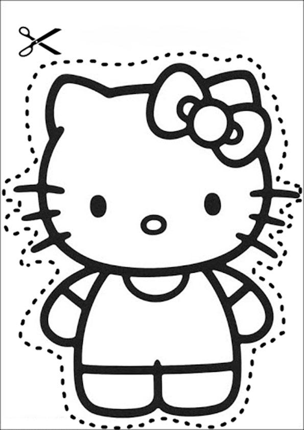 ausschneiden hello kitty 1 ausmalbilder malvorlagen. Black Bedroom Furniture Sets. Home Design Ideas